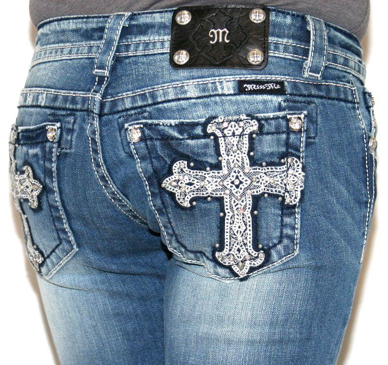 New Womens MISS ME JEANS Lace Cross Skinny Studded Rhinestones JP5404S