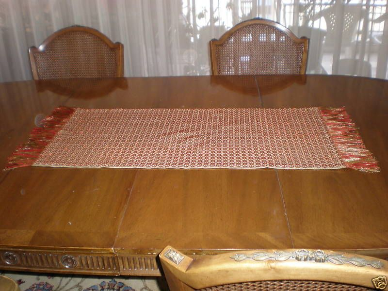 HANDMADE CROSSTICH TABLE RUNNER GREEK RED HAND MADE