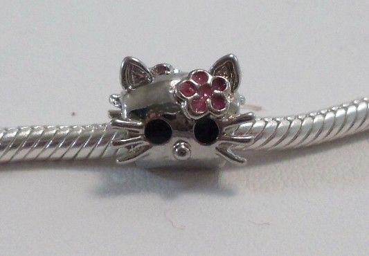 Silver European Crystal HELLO KITTY Charm f Bracelets