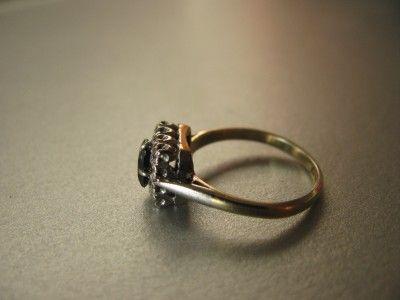 Gold & Platinum Square Cut Blue Sapphire & 12 Diamond Ring