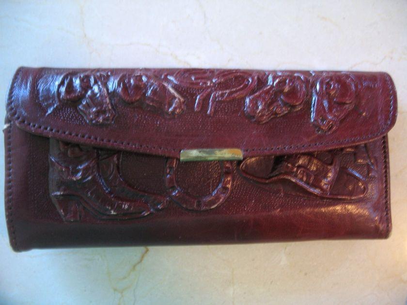 Vintage Tooled Leather Purse Handbag Hecho En Mexico |
