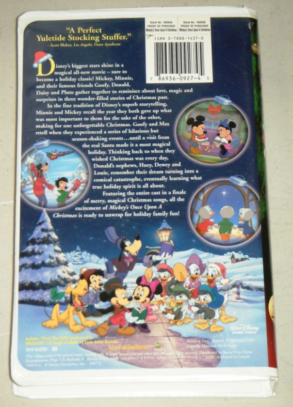 mickeys once upon a christmas vhs movie disney 1999 mickey donald - Mickeys Once Upon A Christmas Vhs